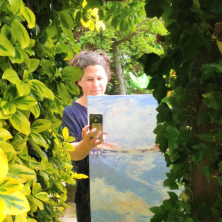 Artist with painting, Kirsteen