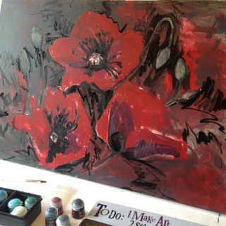Poppies and paint
