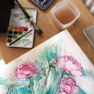 Working on flowers, Kirsteen Lyons Benson