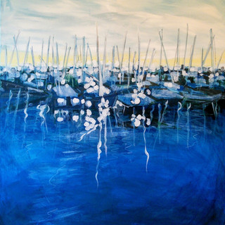 Kirsteen Lyons painting, Boats in Harbour