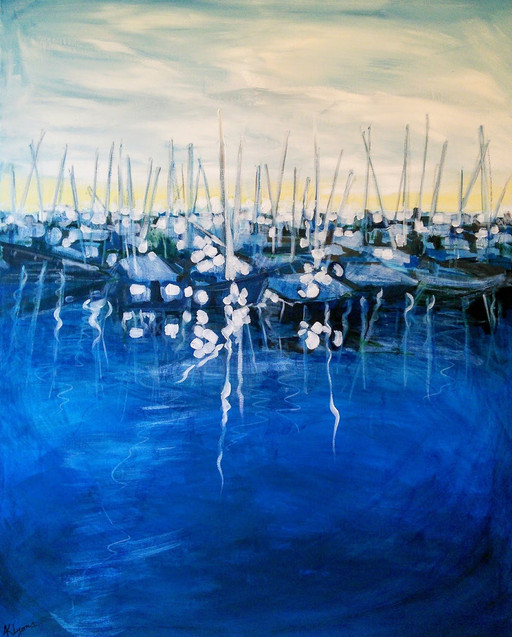 Kirsteen Lyons Benson painting, Boats in Harbour