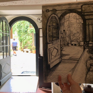 Drawing in a French cafe Kirsteen Lyons Benson
