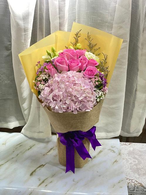 繡球玫瑰花束 rose hydrangea bouquet HYRE311(不包括公仔)