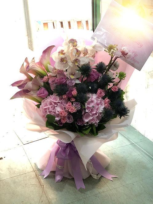 華麗惠蘭繡球馬蹄蘭花束 Luruxy Cymbidium Hydrangea calla lily Bouquet BQ-WHCY-01