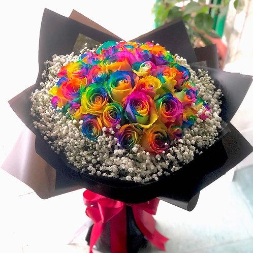 38枝彩虹玫瑰花束 Rainbow Roses bouquet RAIN-BK38B(必須預訂)