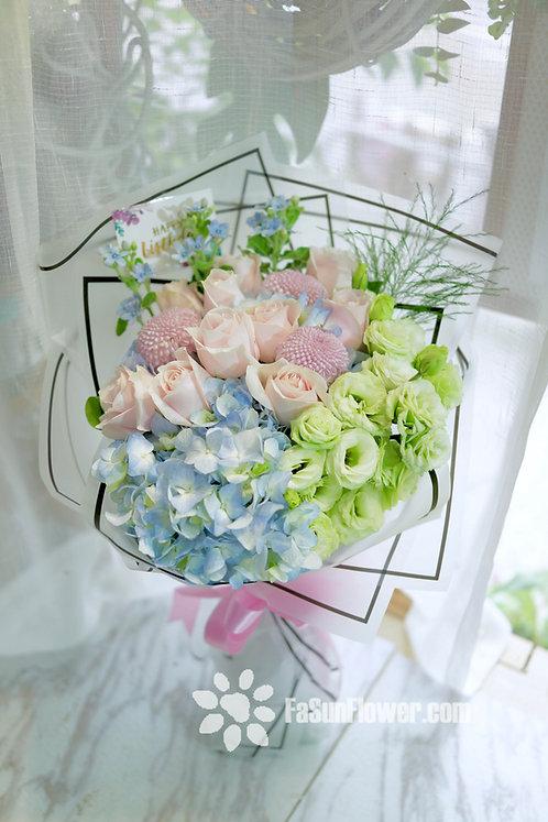 淺粉玫瑰繡球藍星花花束 Roses Hydrangea bouquet PPBS10A