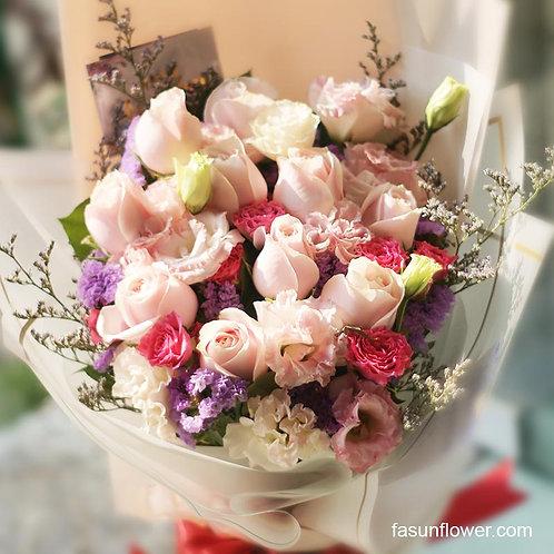 粉紅玫瑰桔梗花束 Red Rose bouquet PPCBLP1