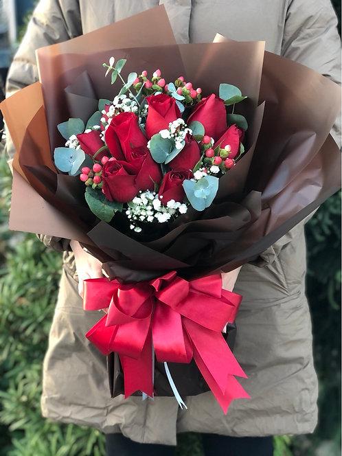 情人節韓式10支玫瑰花束 10 Red Roses Bouquet VD-KSRE10