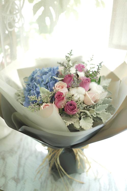 藍繡球玫瑰花束 Hydrangea K-Style Bouquet BHYPRPP1