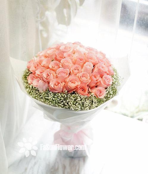 玫瑰滿天星花束 Roses Bouquet PK-WH51B