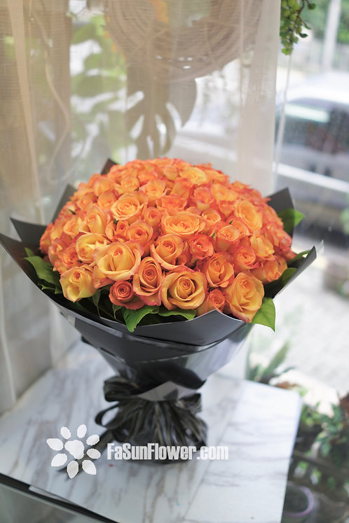 99/108 橙紅玫瑰花束 1 Orange Rose Bouquet 1 OR-GLBK99L