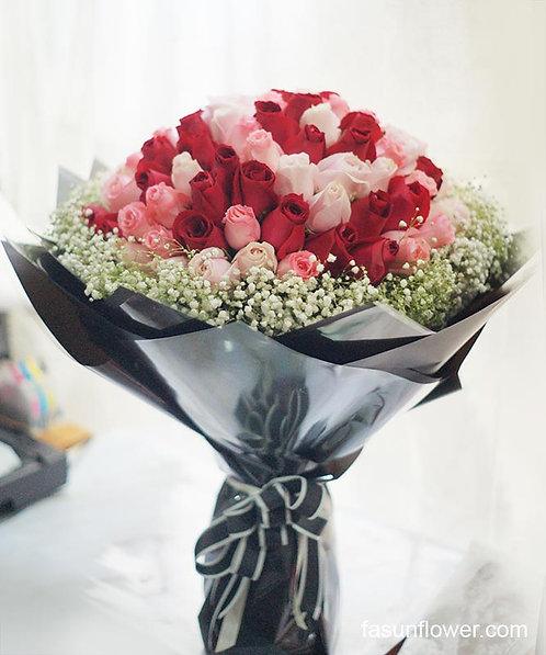 99/108枝三色玫瑰花束 Rose Bouquet REDPPU-GLBK99B