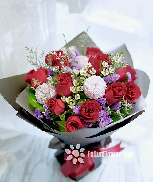 紅玫瑰臘梅花束 Red Roses bouquet RELM12