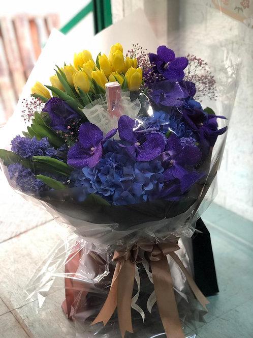 (不包括唇膏)華麗萬代蘭鬱金香風信子花束 Luruxy Vanda Tulip Hyacinth Bouquet BQ-VATUHY-01