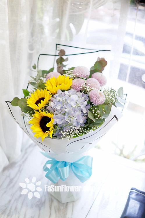 Sunflower hydrangea graduate bouquet 向日葵畢業花束 SFHYPOM301