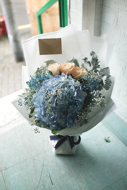 玫瑰繡球花束 Champagne roses hydrangea bouquet CPHY3BB