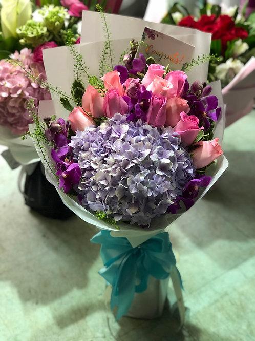 Hydrangea Orchid Bouquet 玫瑰胡姬繡球花束 HYOCB12