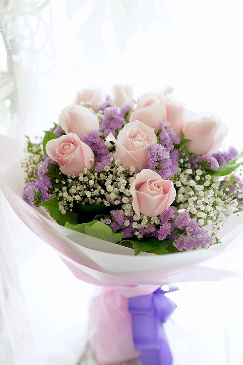 10枝雪山玫瑰花束 10 Pale Pink Rose Bouquet PPRE10R