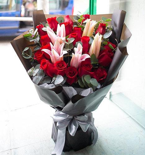 20枝韓式玫瑰粉百合花束 K-Style 20 Roses Pink Lily Classic Bouquet KSRELY