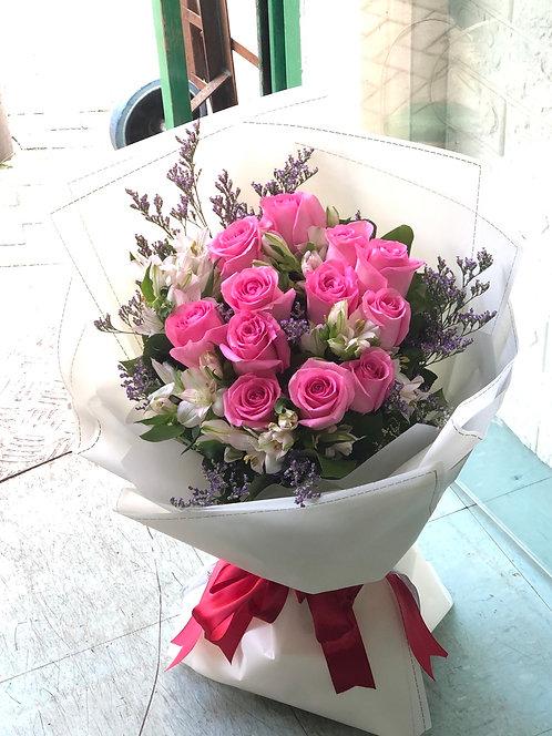 12枝深粉紅玫瑰花束 12 Deep Pink rose bouquet DPPL12L