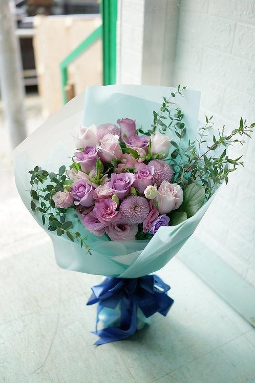 粉紫玫瑰花束 Pale pink and Purple roses bouquet PPPUPO12