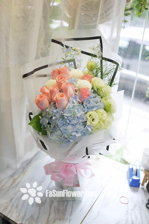粉玫瑰繡球花束 Roses Hydrangea bouquet PKHY10