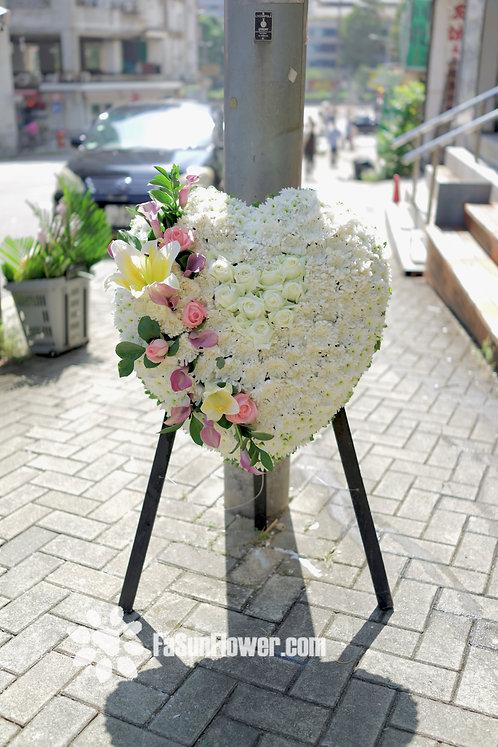 白菊馬蹄蘭心形花牌 Heart Shaped Sympathy Flower HSSF01