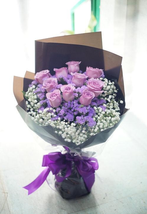 10枝紫玫瑰花束 10 Purple Rose Bouquet LPU10L