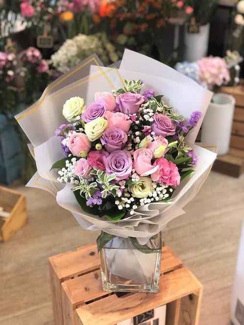 情人節10支淺粉紅紫玫瑰花束 10 Red Roses Bouquet VD-PKLPU10