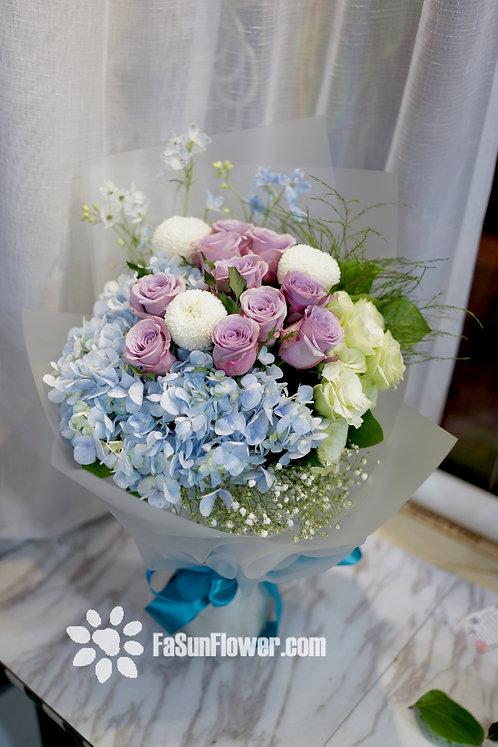 紫玫瑰繡球飛燕草花束 Roses Hydrangea bouquet OSHY10A