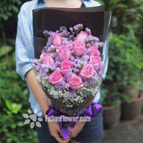 10枝粉紅玫瑰花束 10 Pink Rose Bouquet