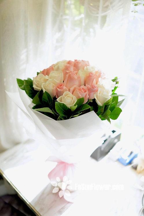 38枝玫瑰花束 White and Pink Roses bouquet WHPK-TR38