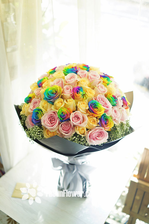 99/108 彩虹玫瑰花束 Roses Bouquet  RAINBOWP-BK99B