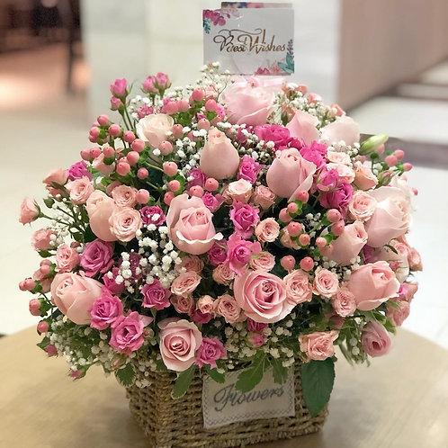 座枱花籃 Pink Rose Table hamper TT-PPRE-01