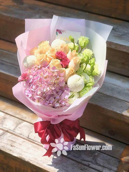 香檳玫瑰繡球花束 Roses Hydrangea bouquet CPHY10N