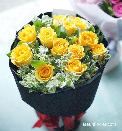 黃玫瑰花束 Yellow Roses Bouquet YE-RoBK12LY