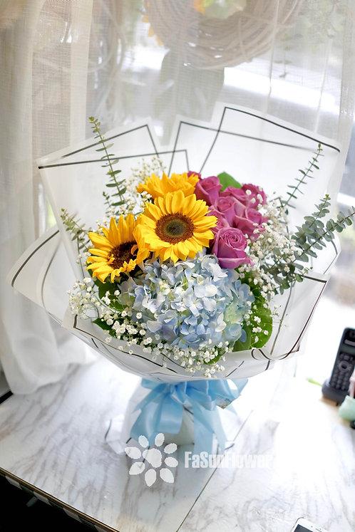 Sunflower hydrangea graduate bouquet 向日葵畢業花束 SFPUHY10A