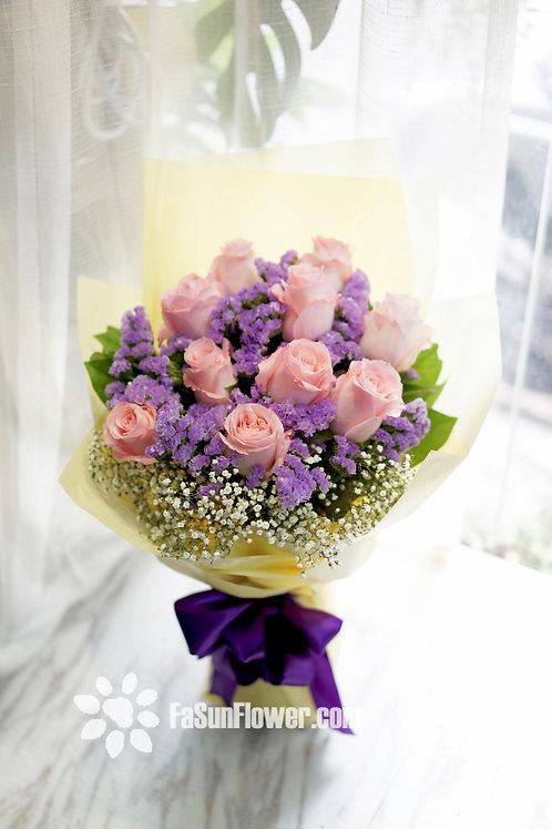 10枝粉紅玫瑰花束 10 Pink Rose Bouquet LPRE10A