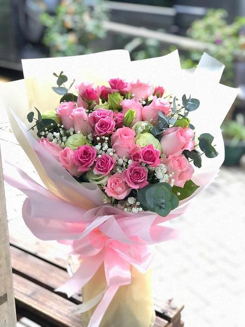 情人節12支玫瑰花束 12 Pink Roses Bouquet VD-PKSR12B