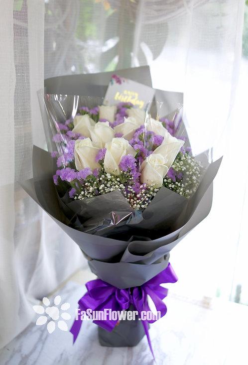 10枝白玫瑰花束 10 White Rose Bouquet WH10L