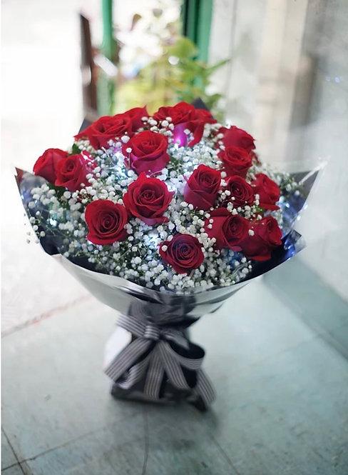 情人節24支紅玫瑰滿天星花束 24 Roses bouquet RE-GVBK24SB(VD)