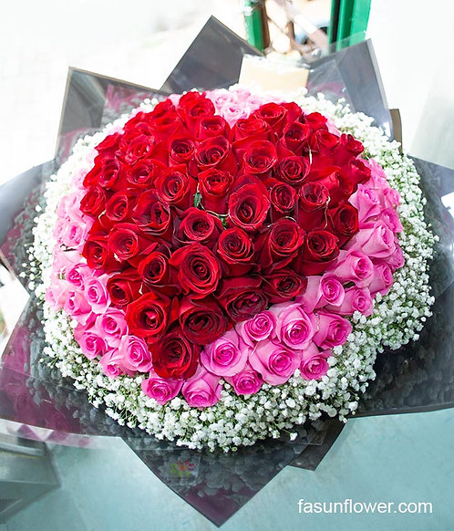 99/108 心形玫瑰花束 Heart Shape Rose Bouquet HTREPK-GLBK99B