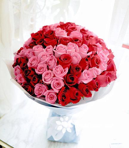 99/108 雙色玫瑰花束 Two Color Rose Bouquet  REDP-WHBU99