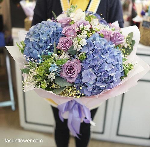 玫瑰繡球花束 Purple Roses Hydrangea Bouquet TRHYPUBS10