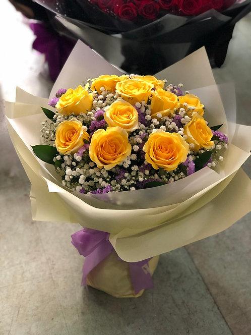 10枝黃玫瑰花束 10 Yellow Rose Bouquet YLRE10R