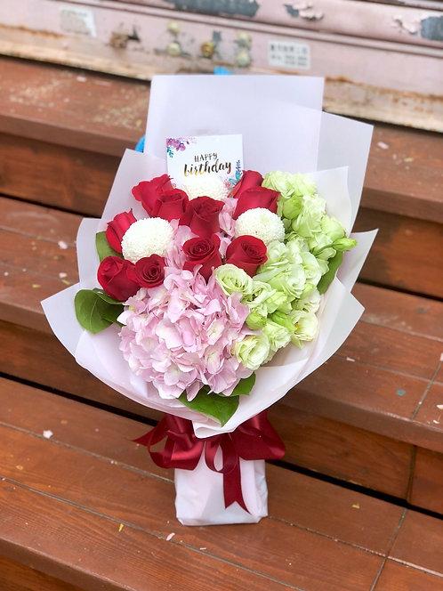 紅玫瑰繍球花束 REHY10N