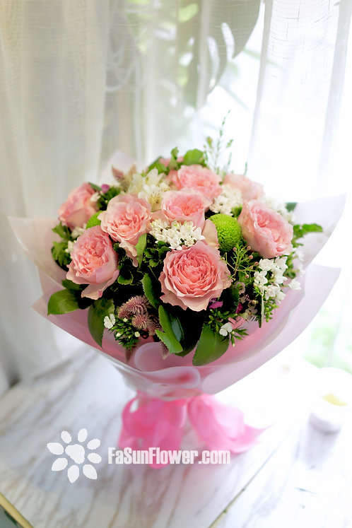 10枝粉紅色庭院玫瑰花束 Garden Rose Bouquet GDPK10(必須預訂)