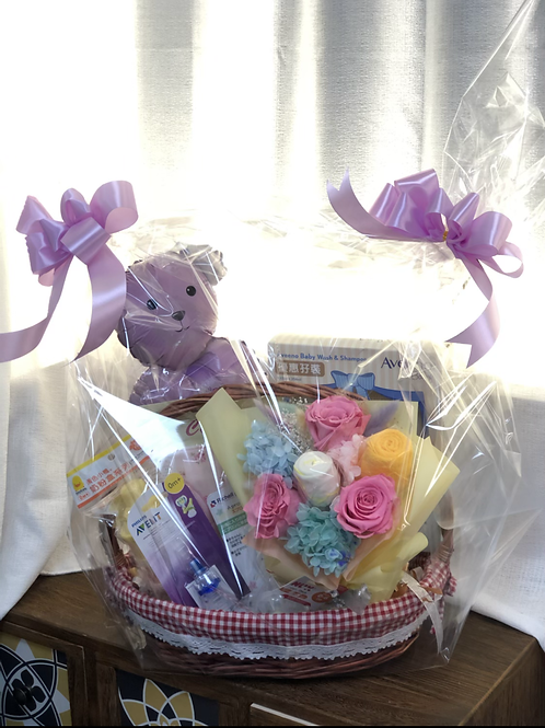 New Born Baby preserved Flower and gift Hamper NBB-GH001