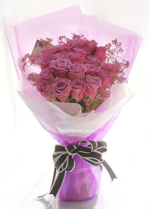 20枝紫玫瑰花束 20 Purple Roses Classic Bouquet KSPU20