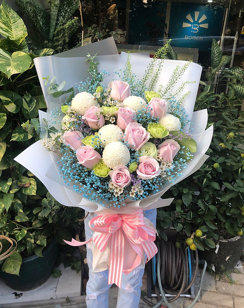 10枝玫瑰花束 10Pink Rose Bouquet PP10BB